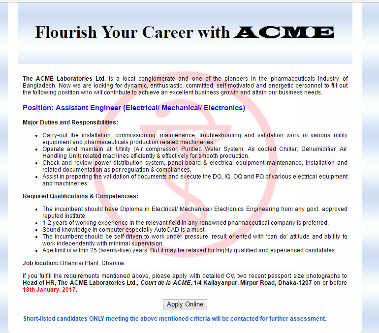 The ACME Laboratories Ltd - Post Assistant Engineer (Electrical