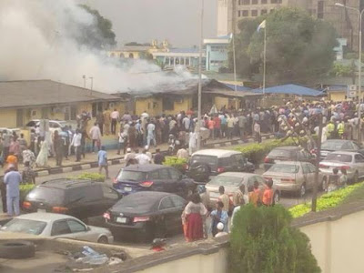 FAAN headquarters building on fire.