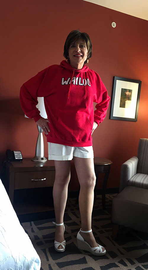 At my hotel, trying on my new callsign hoodie!