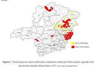 Distribuição dos casos confirmados, notificados e óbitos por febre amarela, segundo local provável de infecção, Minas Gerais, 2017. Fonte: Sala de Situação/SES-MG