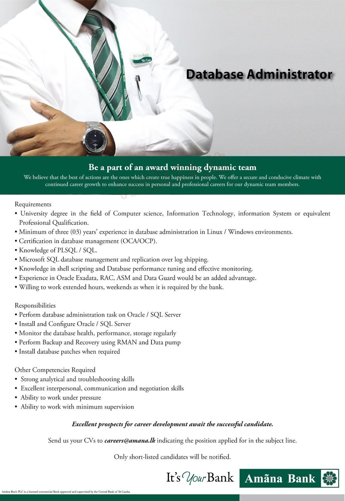 vacancies in amana bank plc