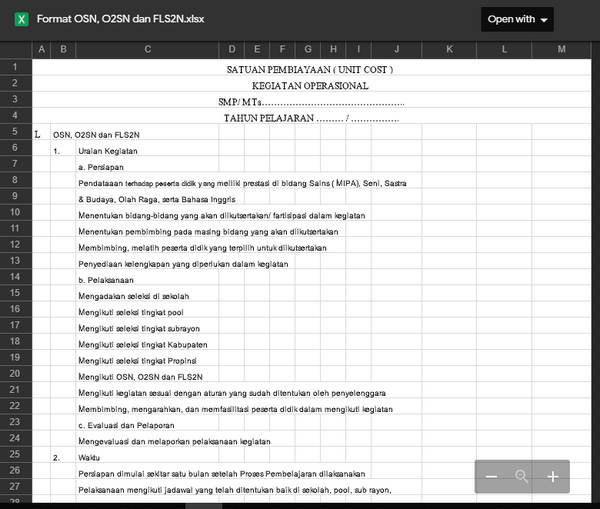 Aplikasi Biaya OSN, O2SN, FLS2N Format Excel
