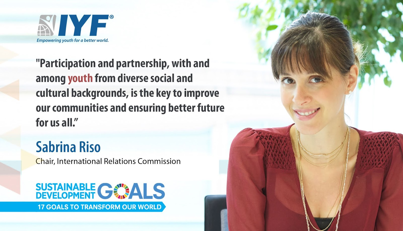 Sabrina Riso, IYF Chair of International Relations Commission