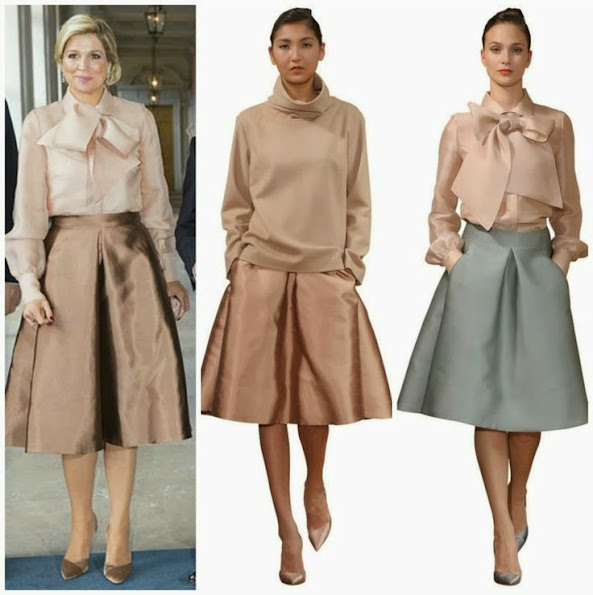 Queen Maxima wore Natan Satin Blouse and Skirt