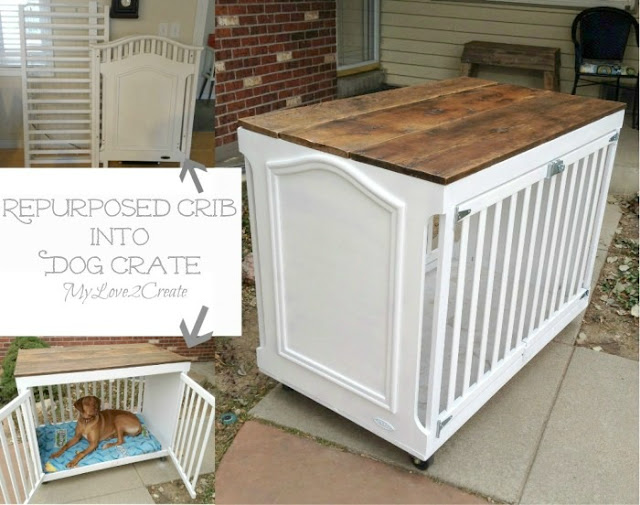 Take an old Crib and turn it into a beautiful dog crate!  MyLove2Create