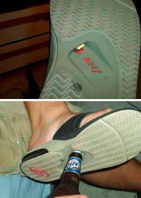 Lustige Schuhe mit Flaschenöffner - Bier öffnen lustig lachen