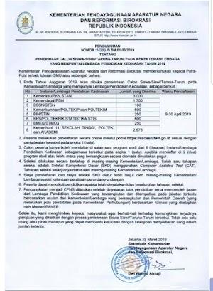 Pembukaan Pendaftaran Sekolah Ikatan Dinas Tahun 2019