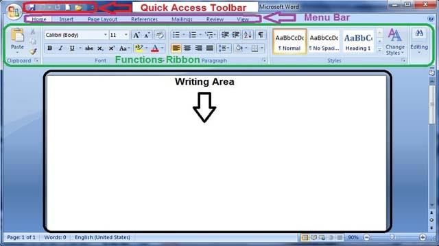 MS Word की बुनियादी संरचना