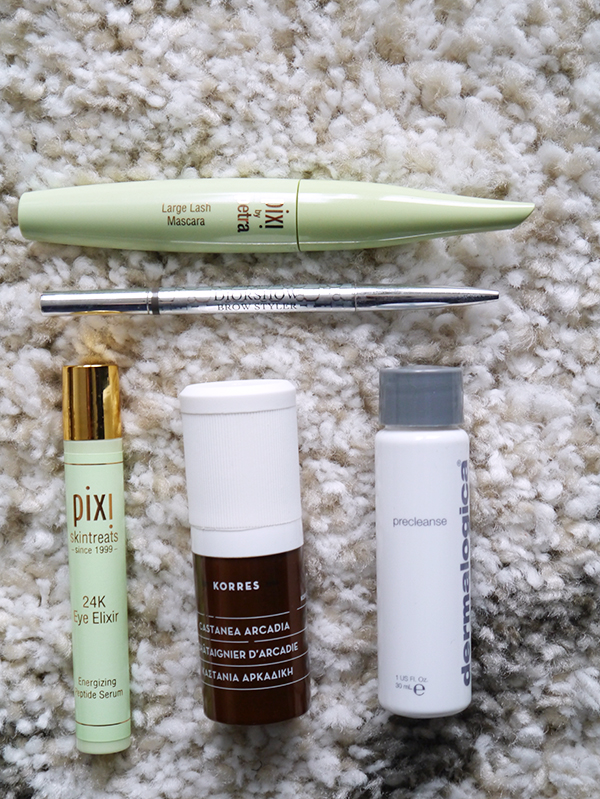 Empty skincare and makeup products from Dior, Pixi, Dermalogica, Korres