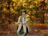 Girl Sitting Posing Trees Woods