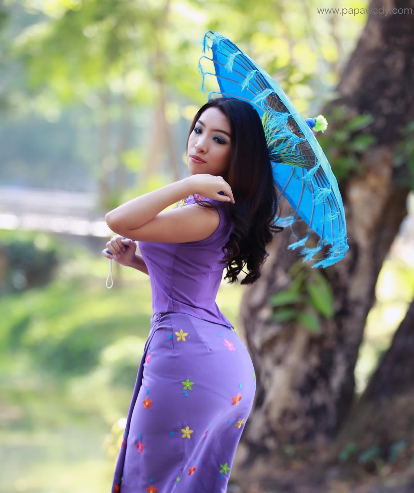 Nan Mwe San New Outdoor Photoshoot In Myanmar Dress At The Park