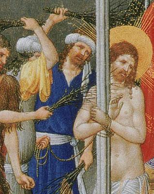 flagelacion azote latigo birching medieval tortura tres riches heures limbourg
