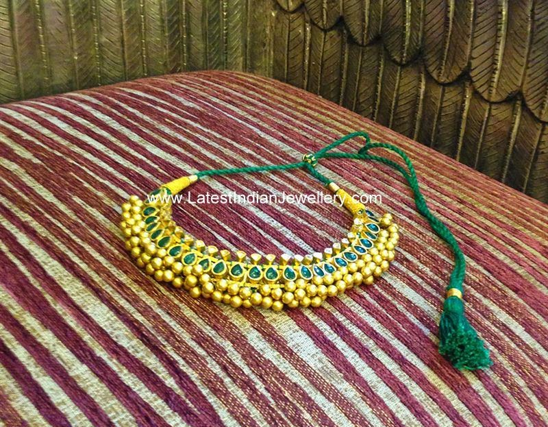 Gold Tussi Balls Necklace with Emeralds