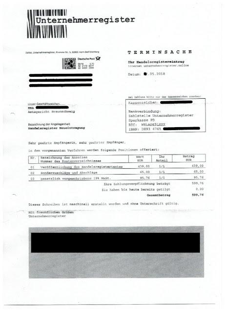 """Scan: Offerte PW Logistik UG für """"Unternehmerregister.online"""" / Seite 1"""