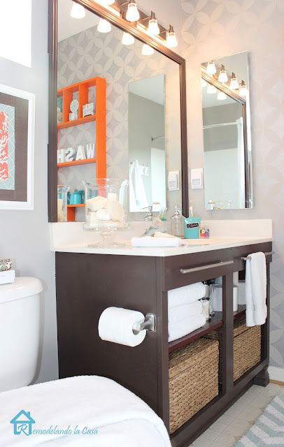 bath makeover on a budget - vanity and stenciled wall