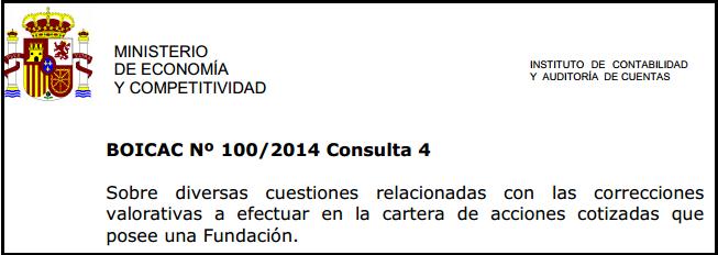 BOICAC 100 consulta 4 contabilidad deterioro acciones Fundación
