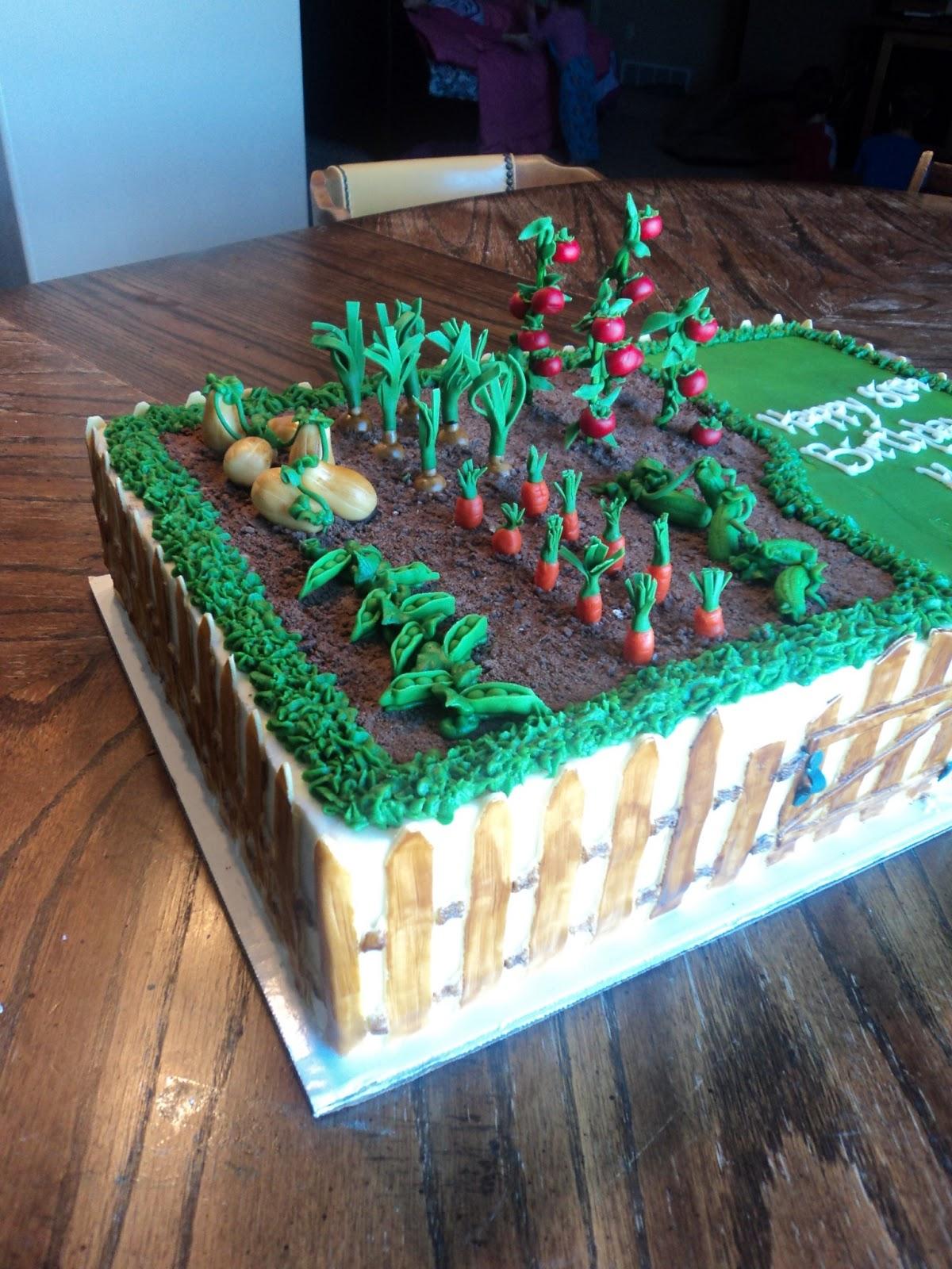 Delectable Cakes Vegetable Garden Birthday Cake
