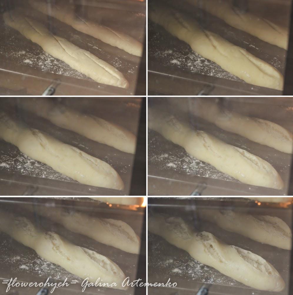 процесс выпечки багетов в духовке