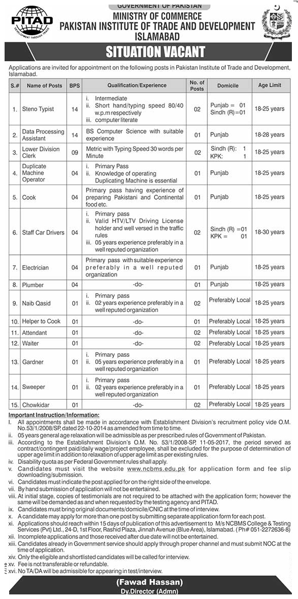 Ministry Of Commerce Jobs 2019
