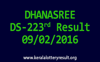 DHANASREE DS 223 Lottery Result 09-02-2016