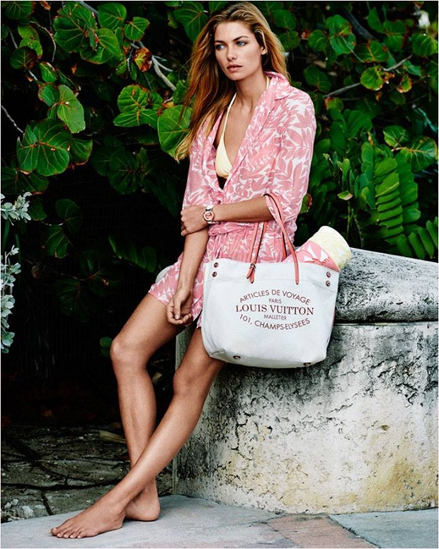 Jessica Hart shows off summer dresses and swimwear for the Louis Vuitton 2014 Lookbook