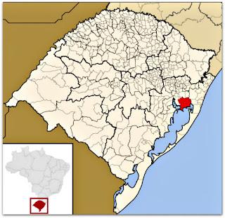 Cidade de Viamão, no mapa do Rio Grande do Sul