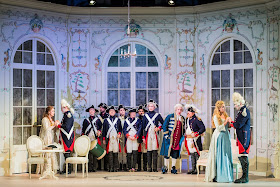 Mozart: Cosi fan tutte - Kitty Whately, Nick Pritchard, Peter Coleman-Wright, Eleanor Dennis, Nicholas Lester - Opera Holland Park (Photo Robert Workman)
