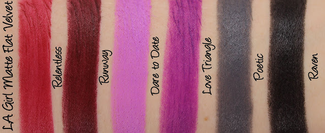 LA Girl Matte Flat Velvet Lipsticks Swatches & Review