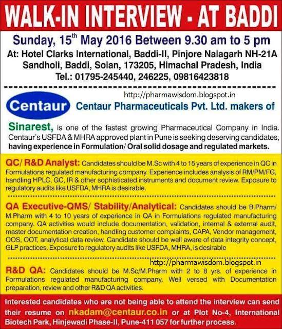 internship report on centaur pharmaceitical ltd