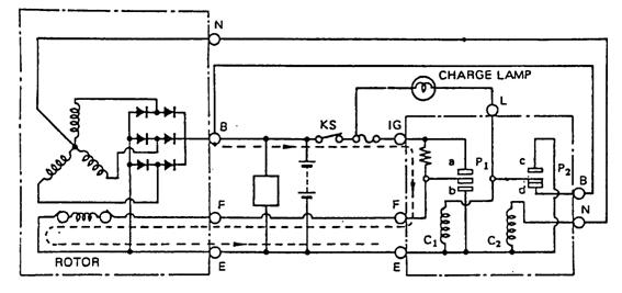 B alternator - beban - massa (arus output)