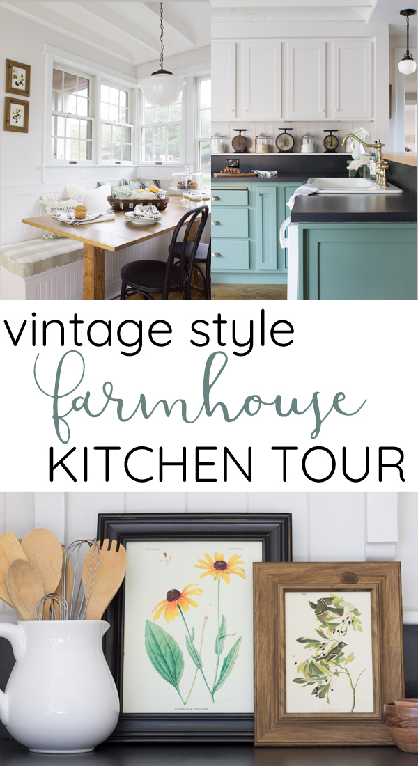 A cozy modern farmhouse kitchen with 1920s vintage charm. Exposed ceiling, schoolhouse lights, brass hardware, and porcelain knobs give this kitchen antique style.