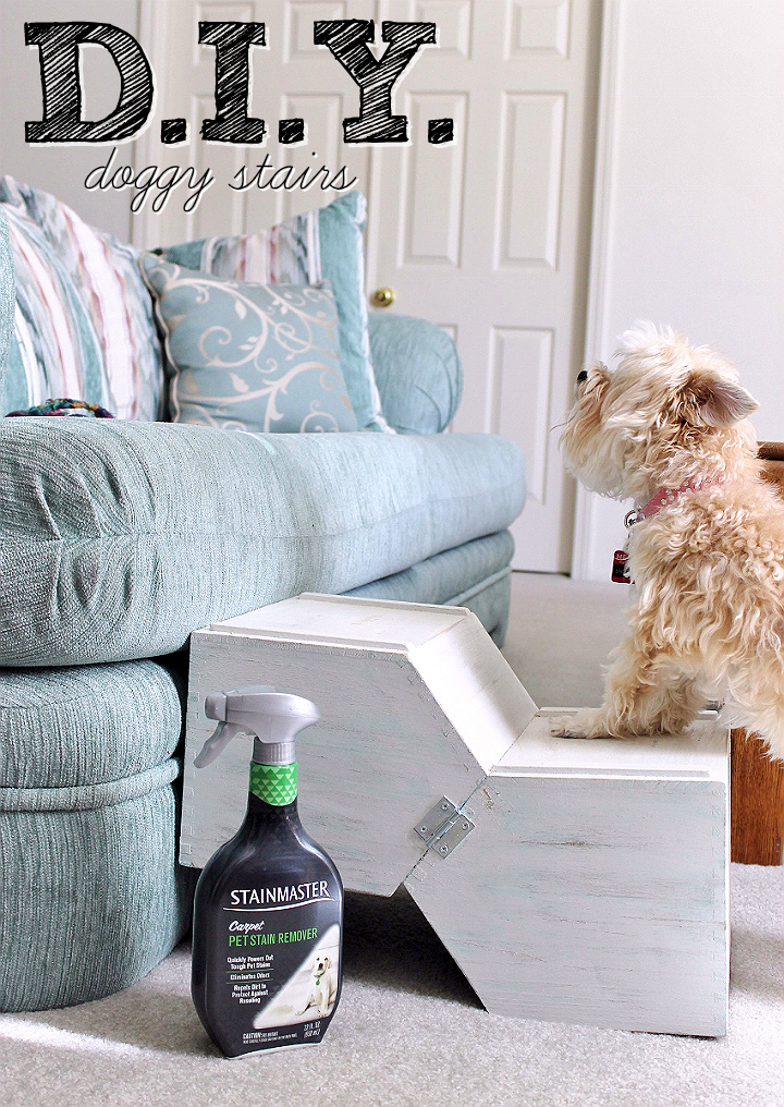 DIY Doggy Stairs- No woodworking skills required! Grab your supplies at Target! #NewPetNoStains AD