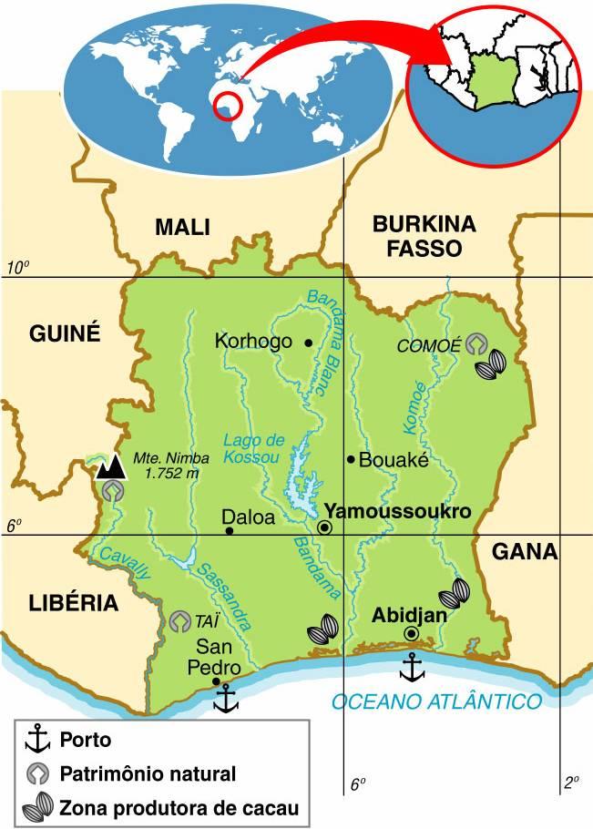 Costa do Marfim | Mapas Geográficos da Costa do Marfim