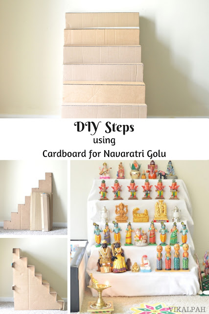 DIY steps using Cardboard for Navaratri Golu