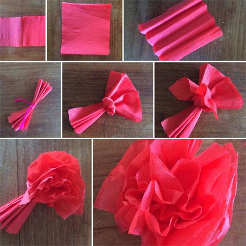diy bloemen vouwen van crepepapier