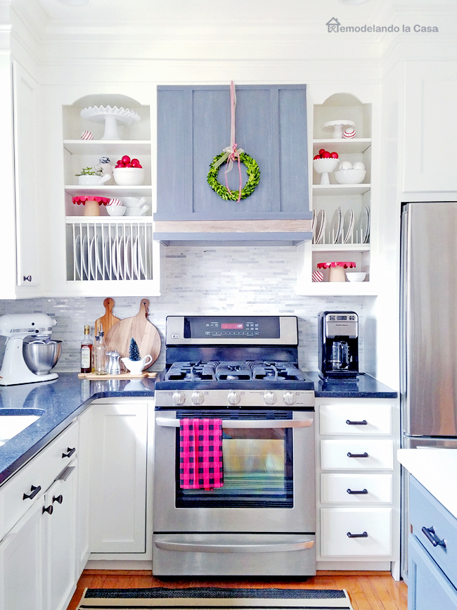 white and grey kitchen with red pops of color for Christmas