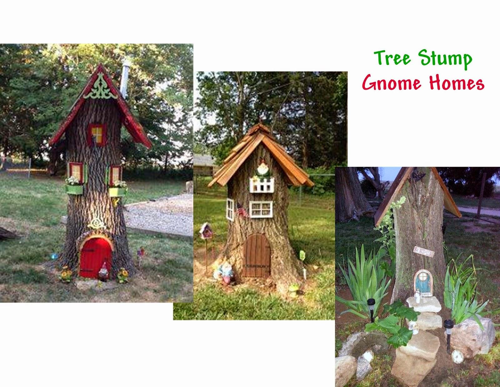 Gnome Tree Stump Home: Hodgepodge From The Geranium Farm: Tree Stump Gnome Homes