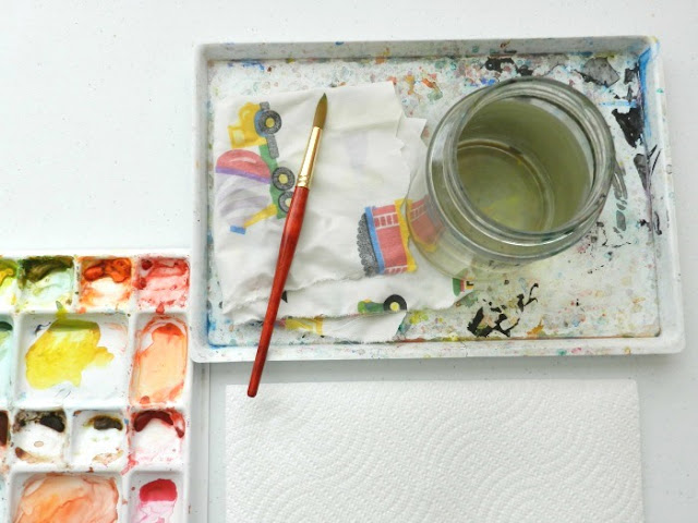 watercolor materials set-up