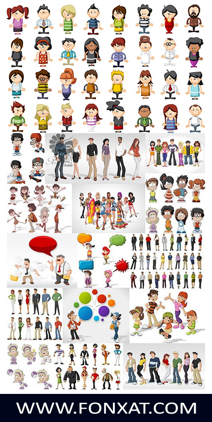 Download vector illustrations of people, children, women, men