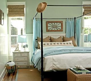 Cuarto decorado azul marrón