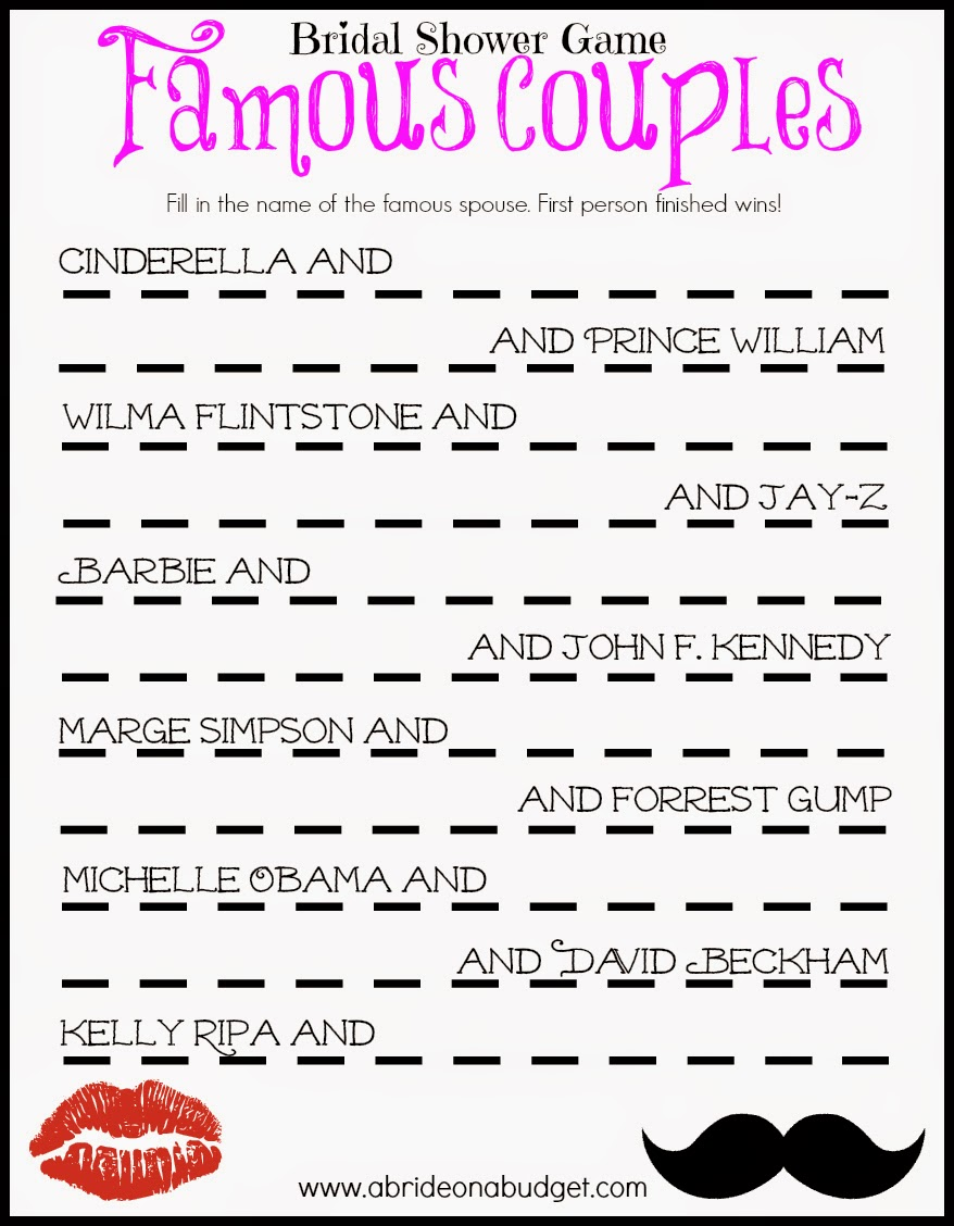 templates for bridal shower games - famous couples bridal shower game free printable a