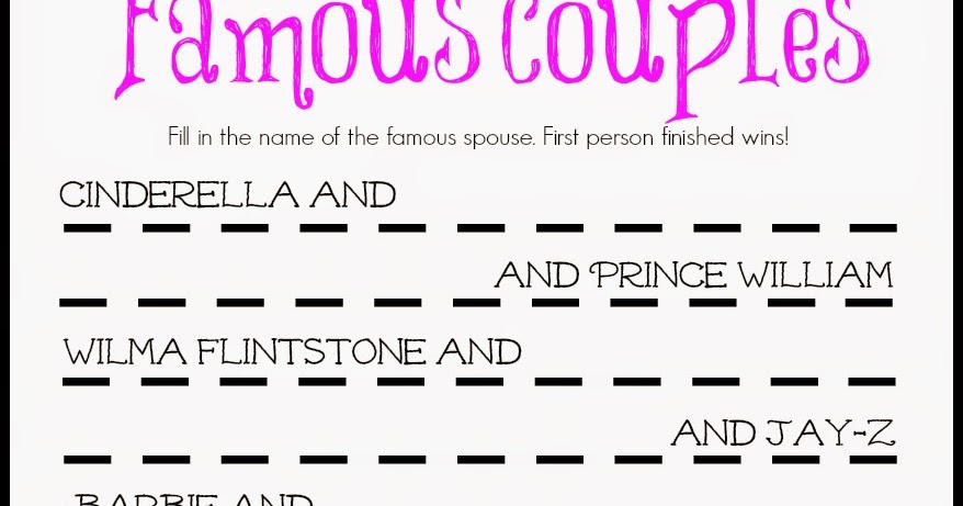 famous couples bridal shower game free printable a bride on a budget