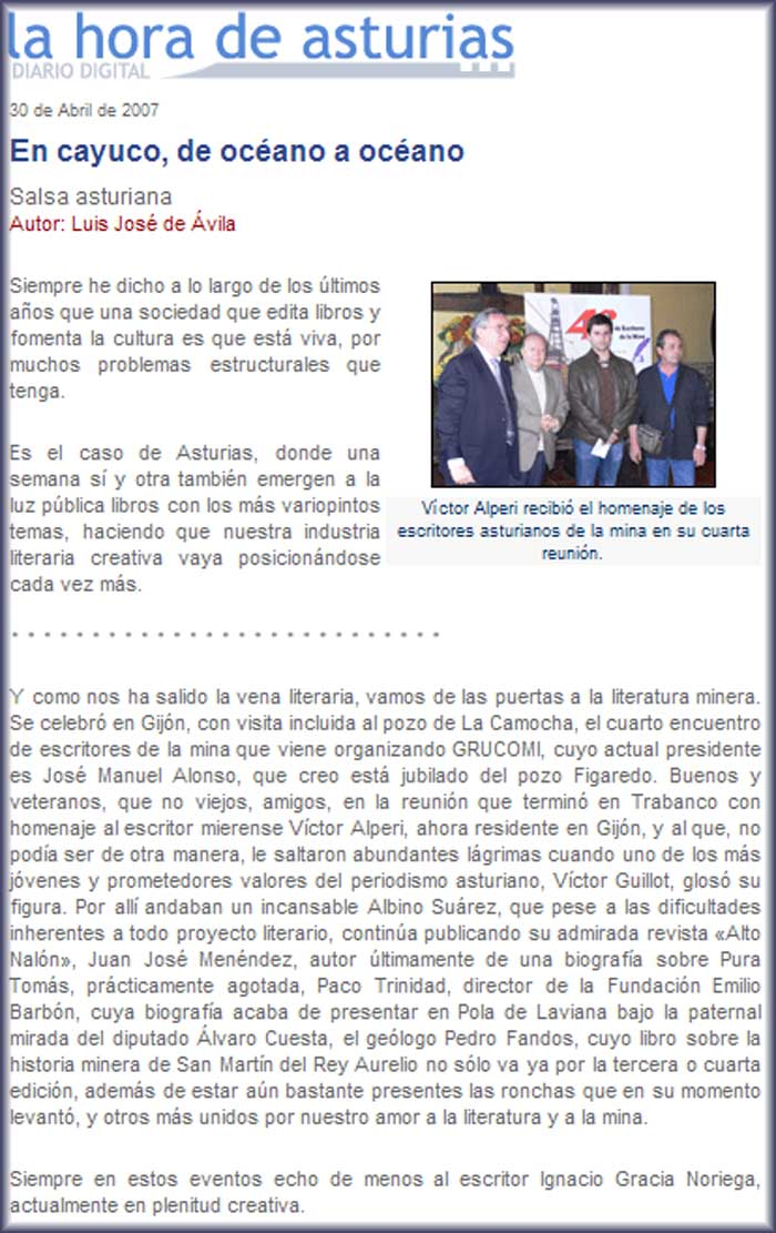 Cuarto Encuentro de Escritores de la Mina, homenaje a Víctor Alperi