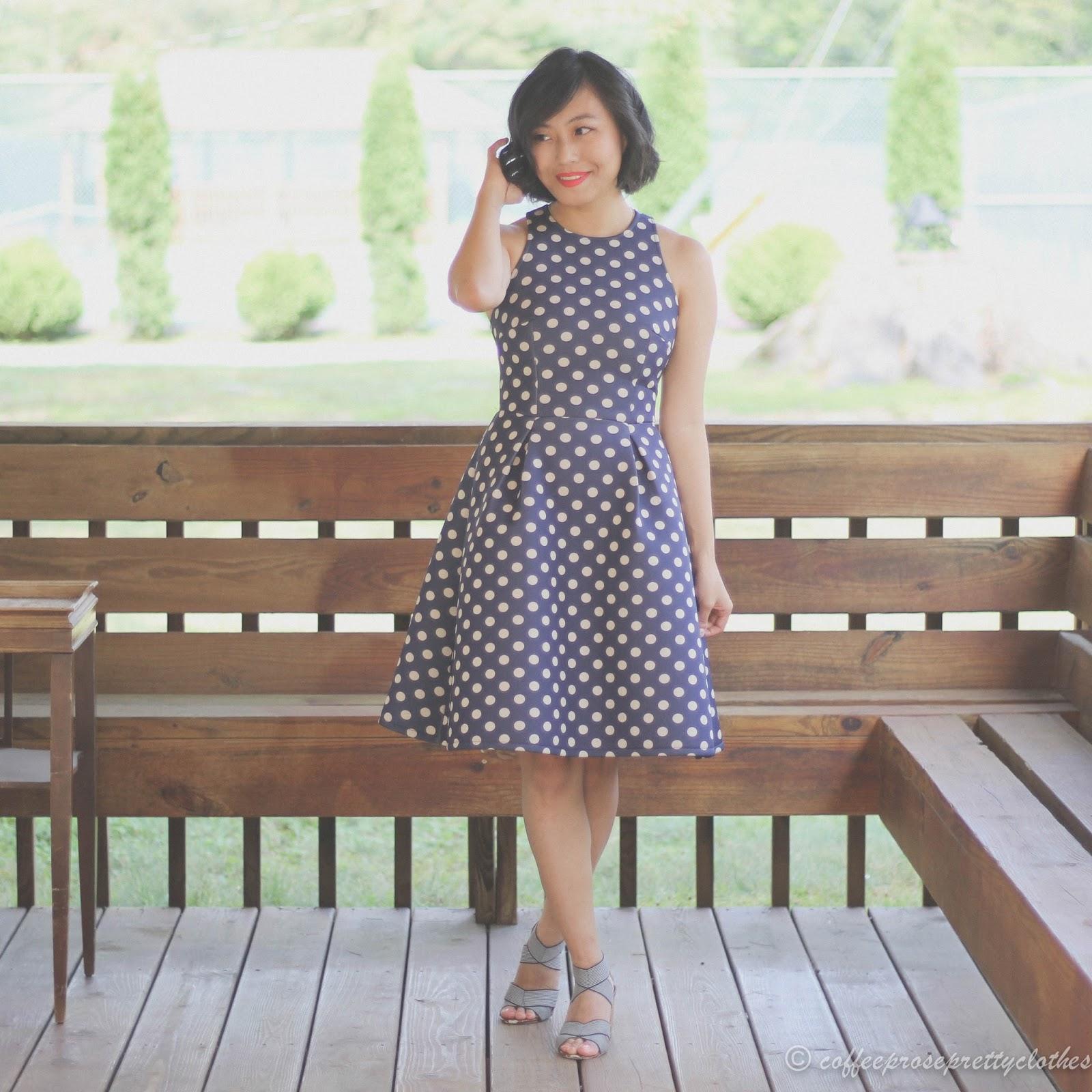 neoprene polka dot dress, midi, Maybelline superstay matte ink liquid lipstick
