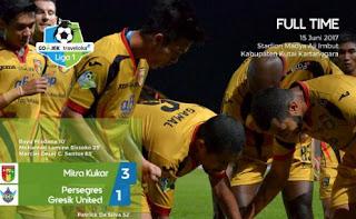 Kalahkan Gresik United 3-1, Mitra Kukar Ke Posisi 4 Klasemen