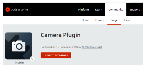 OutSystems Camera Plugin
