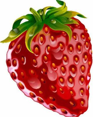 Imagen de una rica fresa con hojas
