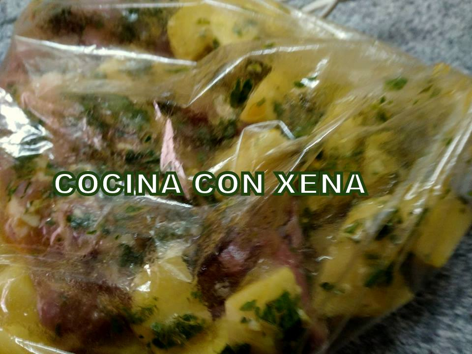 COCINA CON XENA Pollo con patatas en bolsa de asar en