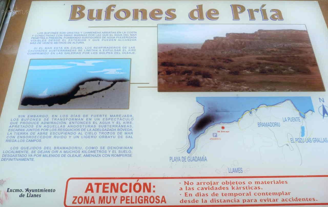 Panel descriptivo Bufones de Pría - Llanes - Asturias