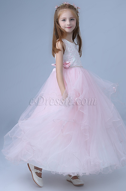 sleeveless pink tulle skirt flower girl dress